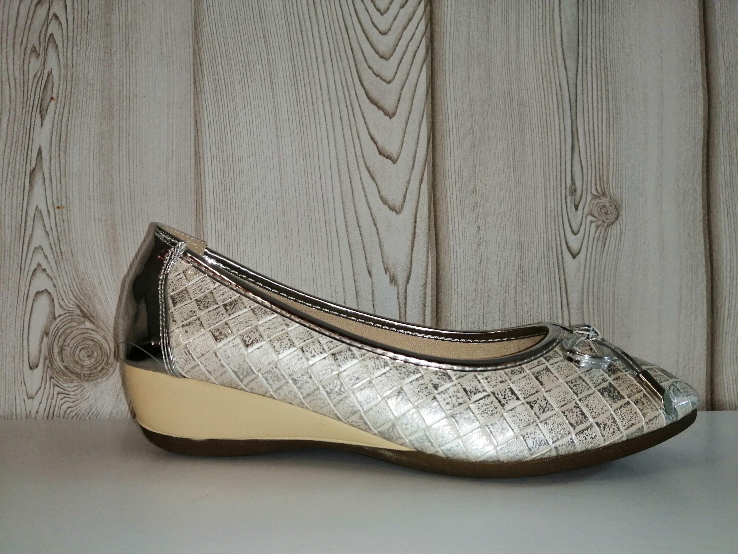 Bailarina cuña plata / marino 1273 Crube