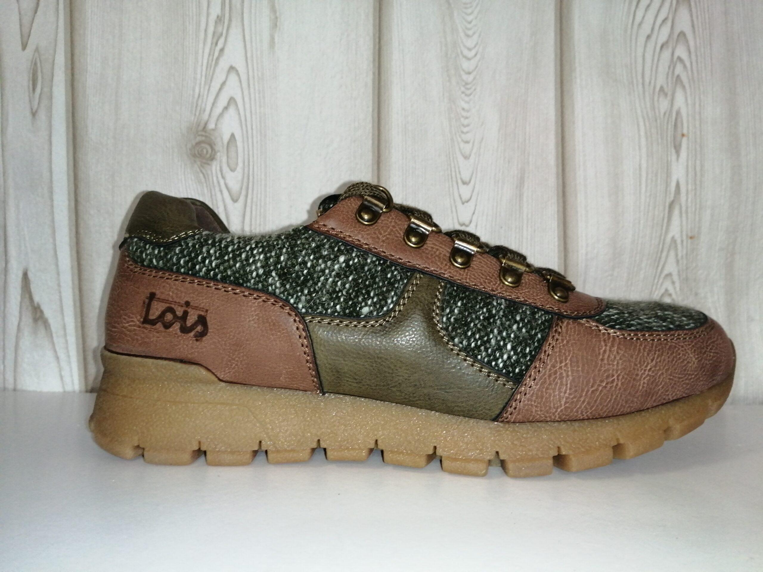 Zapato casual cordones camel/verde sra 85233LOIS