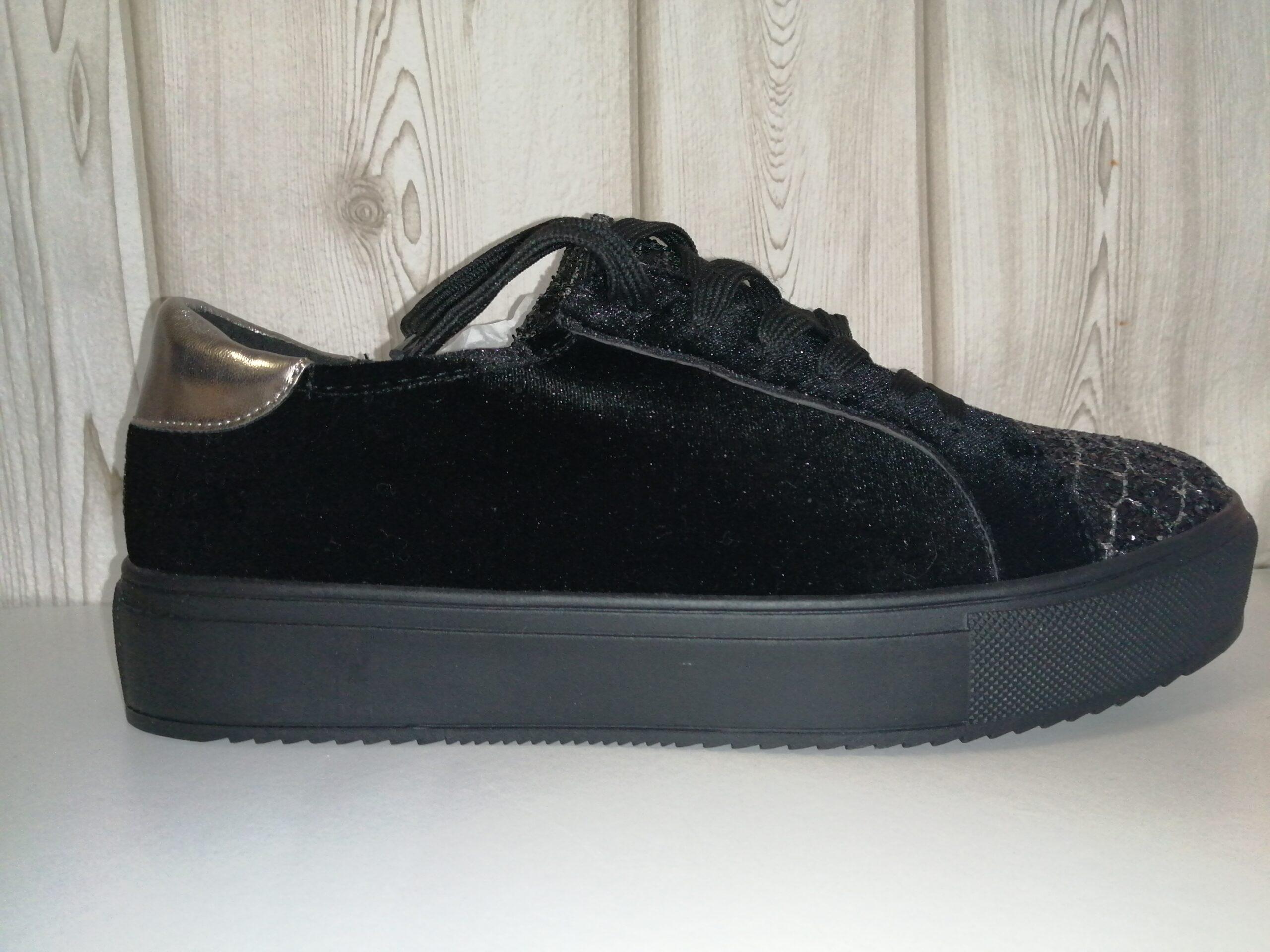 Zapato casual plataforma negro brillos 85207LOIS