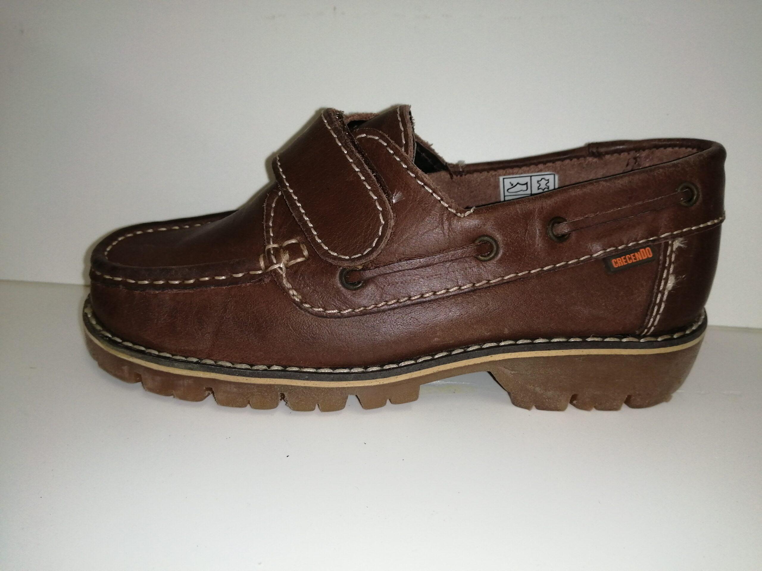 Zapato náutica piel niño velcro 834G